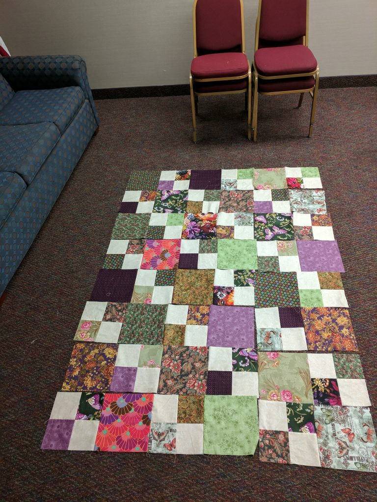 More quilt blocks in rows.